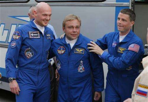 Rocket with 3-man crew lifts off for space station