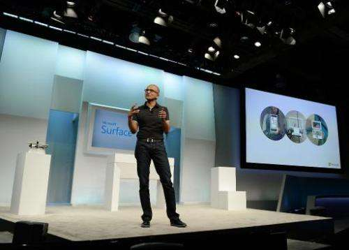 Satya Nadella, Microsoft CEO, speaks at the launch of the new Microsoft Surface Pro 3 tablet computer on May 20, 2014 in New Yor