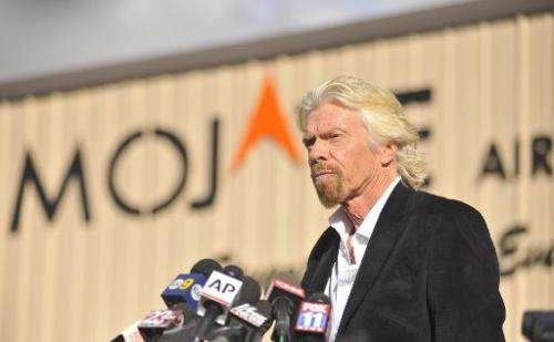 Virgin founder Sir Richard Branson speaks at a press conference in Mojave, California on November 1, 2014
