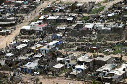 Aerial view of San Jose del Cabo, Baja California, Mexico on September 20, 2014, after Hurricane Odile torn through the area