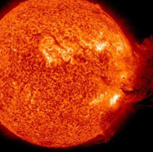 Handout photo released by Nasa Earth Observatory on June 7, 2011 and taken from Nasa's Solar Dynamics Observatory (SDO) shows th