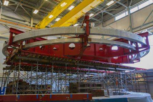 50-foot-wide Muon g-2 electromagnet installed at Fermilab