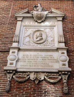 A file picture taken on March 7, 2014 shows a commemorative marble plaque to Miguel de Cervantes on the wall of the Convent of T