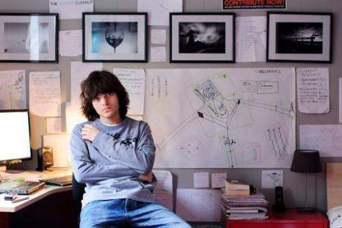 """A handout photo released by the Dutch Organization """"The Ocean Cleanup"""" on July 2, 2014 shows Dutch student Boyan Slat,"""