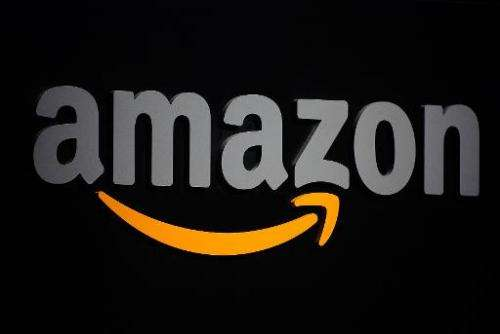 This September 28, 2011 file photo shows the Amazon logo on a podium during a press conference in New York. Amazon is taking on