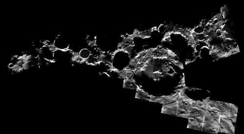 Image: A peppering of craters at the Moon's south pole