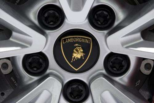 A detail of the Lamborghini Aventador LP700-4 presented at the Paris Auto Show in Paris on October 2, 2014