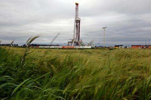 A drilling rig exploring for shale gas of oil company Chevron on June 11, 2013 in a village of Ksiezomierz in south-eastern Pola