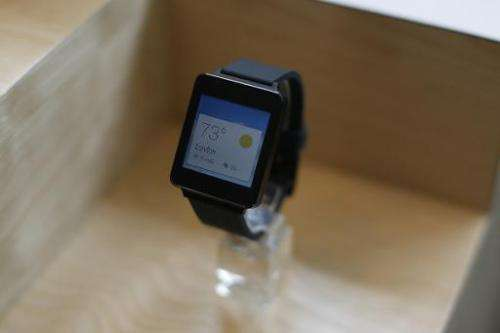 A LG G watch is seen on display during the Google I/O Developers Conference at Moscone Center in San Francisco, California, on J