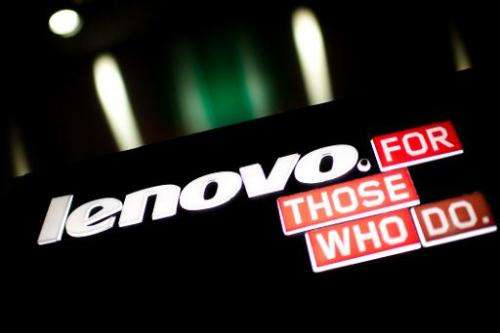 A logo of Chinese computer giant Lenovo is displayed in Hong Kong on February 13, 2014