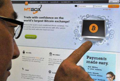 A man looking at the bitcoin exchange website MtGox in Tokyo on February 25, 2014