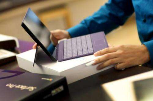 A Microsoft Surface Pro 2 tablet at a store on October 22, 2013 in Miami, Florida