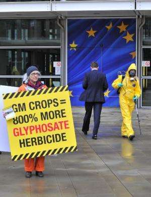"""An activist displays a banner"""" outside the EU Commission headquarters on November 7, 2012, in Brussels, Belgium"""