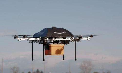 "An Amazon flying ""octocopter"" mini-drone that could be used to fly small packages to consumers"