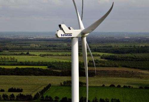 A photo taken on June 29, 2012 shows a Vestas wind turbine near Baekmarksbro in Jutland