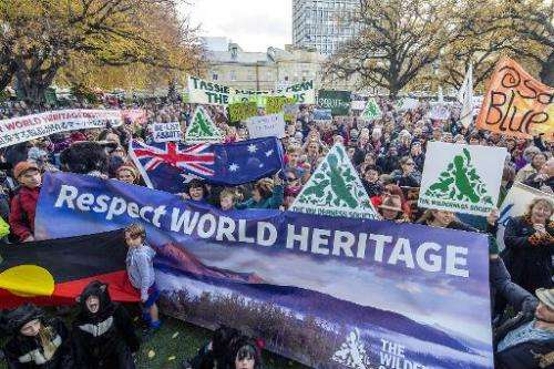 Approximately 5,000 Tasmanians attend a rally to oppose the delisting of Tasmania's World Heritage forests in Hobart, Tasmania o