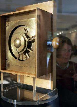 A reconstruction of the Antikythera Mechanism on display at the Ancient Greek Technology in Athens, on October 17, 2005