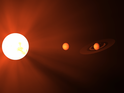 Artistic representation of a low-mass star with two planets.