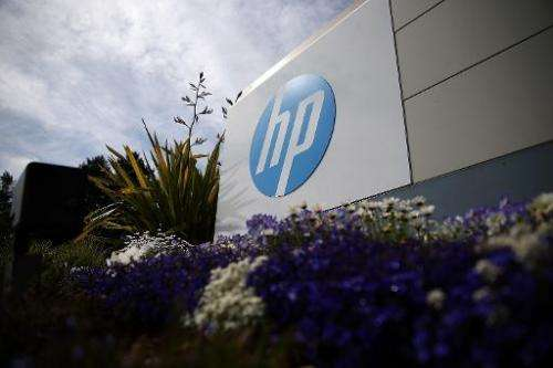 A sign outside Hewlett-Packard headquarters, seen on May 23, 2014 in Palo Alto, California
