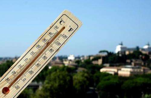 A thermometer shows 40 degrees Celsius at 16:30 in Rome, Italy, on July 28, 2013