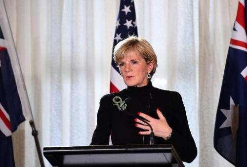 Australian Foreign Minister Julie Bishop speaks at a press conference in Sydney, on August 12, 2014