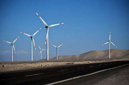 A view of wind turbines installed in Calama, north of Santiago, Chile, on November 13, 2014 as part of a renewable energy projec