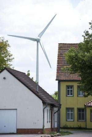 A wind turbine operates in Feldheim
