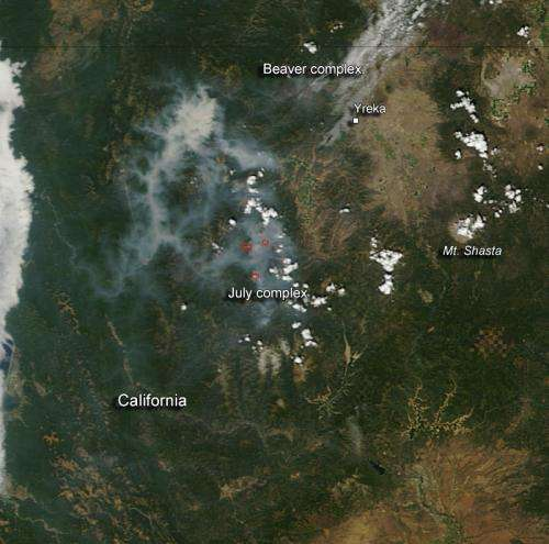 Beaver complex and July complex wildfires in California