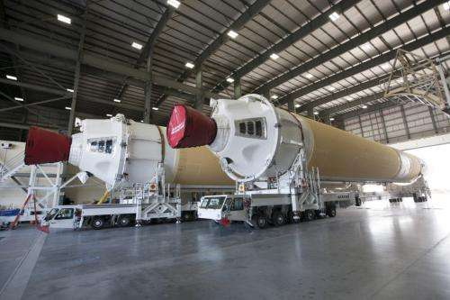 Boosters for Orion spacecraft's first flight test arrive at Port Canaveral, Florida