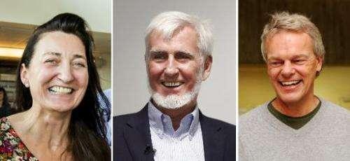 British-American researcher John O'Keefe (C), Norwegian neuroscientist Edvard Moser (R) and wife May-Britt Moser (L) were awarde