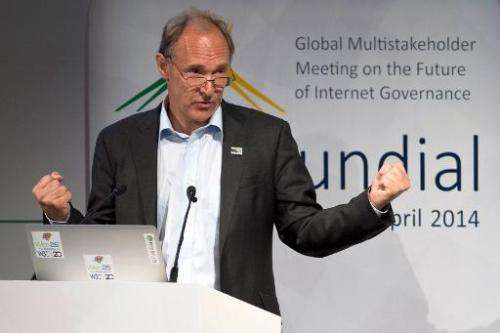 """British computer scientist Tim Berners-Lee, credited with inventing the world wide web, delivers a speech during """"NETmundia"""