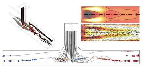 Common junction in pipes can trap bubbles and particles even if materials are flowing freely
