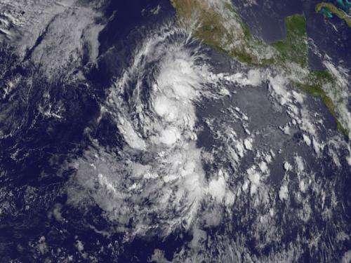 Dawn breaks on Tropical Storm Amanda in Eastern Pacific