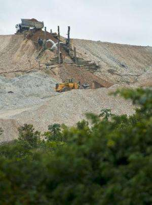 Debris from surface gold mining has left vast areas of land with permanent ecological damage, near the village of Nueva in Puert