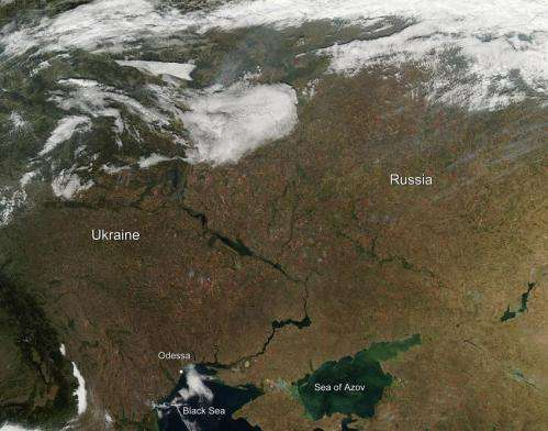 Fires dot the Ukraine countryside