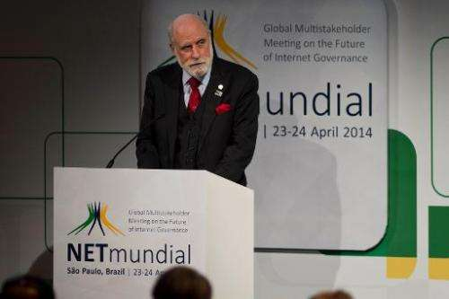 """Google vice-president Vint Cerf delivers a speech during the opening ceremony of the """"NETmundial – Global Multistakeholder"""