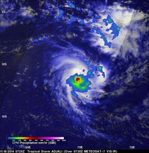 GPM measured Tropical Storm Adjali's rainfall before dissipation