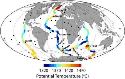 Hot mantle drives elevation, volcanism along mid-ocean ridges