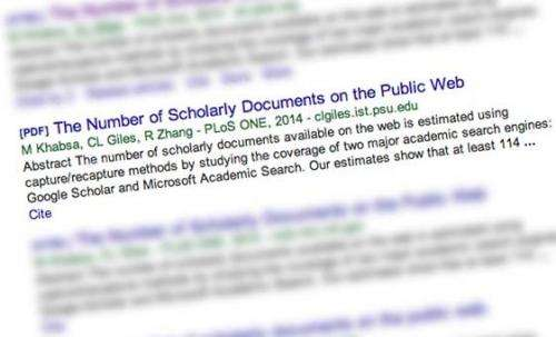 How many scholarly papers are on the Web? At least 114 million, professor finds