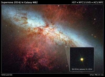 Hubble monitors supernova in nearby galaxy M82