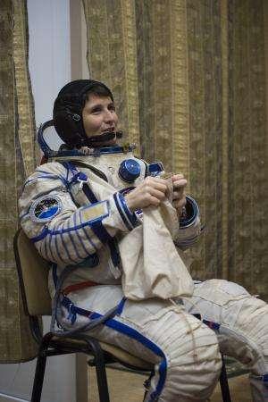 Image: Samantha wearing her Sokol spacesuit
