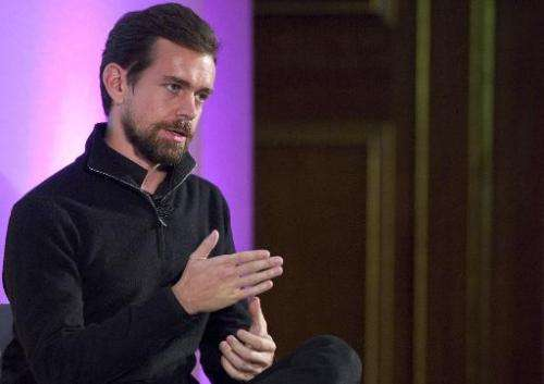 Jack Dorsey, CEO of Square, Chairman of Twitter and a founder of both, holds an event in London on November 20, 2014