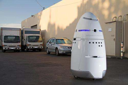 Knightscope K5 on security patrol roams campus