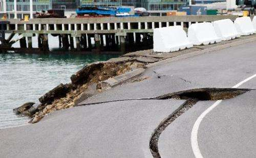 Large cracks caused by an earthquake on July 21, 2013 pictured at the Port Wellington Container terminal