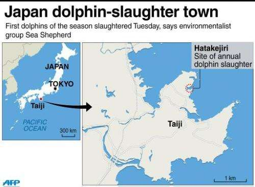 Map locating the Taiji dolphin slaughter cove in Japan