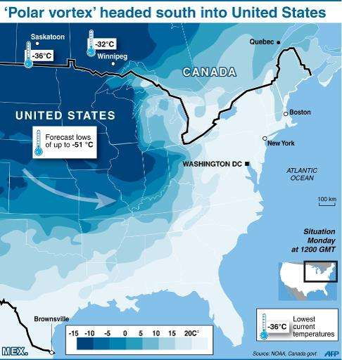 Map of North America showing the extremely cold weather front headed south