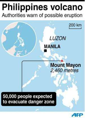 Map of the Philippines locating Mount Mayon, which continues to spew more lava on Wednesday