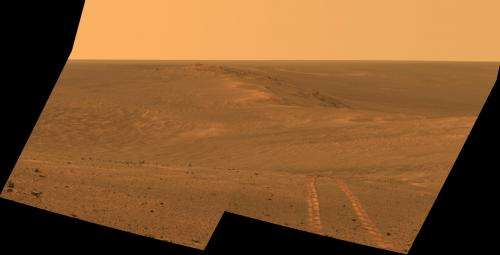 Mars rover Opportunity's vista includes long tracks