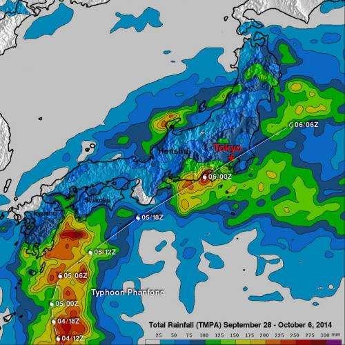 NASA adds up Japan's soaking rains from Typhoon Phanfone