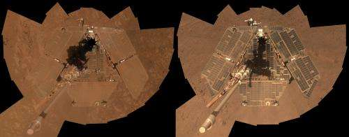 NASA rover Opportunity's selfie shows clean machine